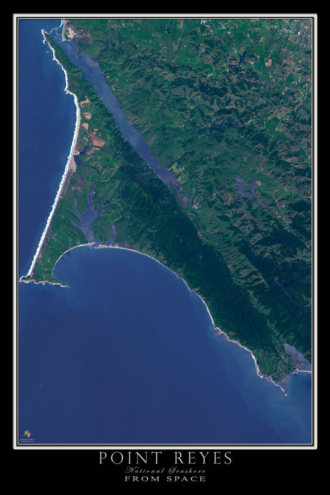 Point Reyes National Seashore California From Space Satellite Poster Map - TerraPrints.com