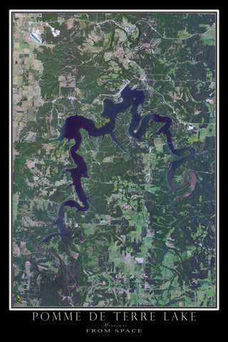 Pomme de Terre Lake Missouri Satellite Poster Map