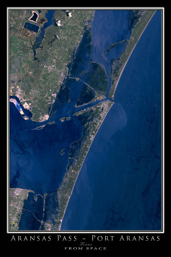 Port Aransas Texas From Space Satellite Poster Map by TerraPrints.com. Available in multiple sizes with free shipping in the USA.