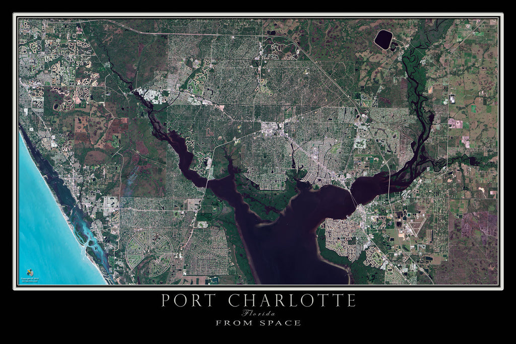 Port Charlotte Florida From Space Satellite Poster Map - TerraPrints.com