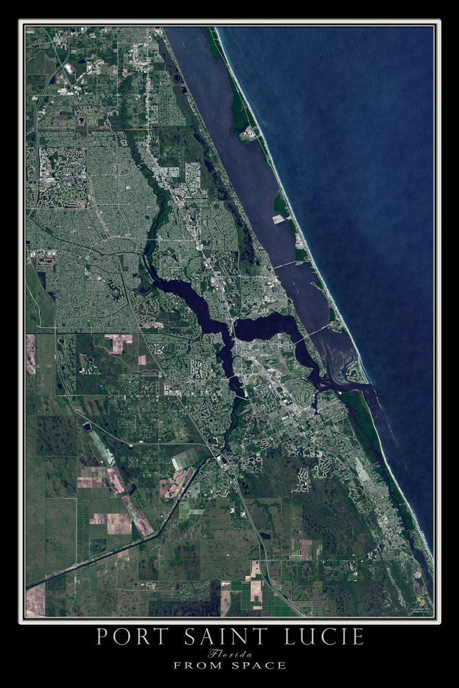Port Saint Lucie Florida From Space Satellite Poster Map by TerraPrints.com. Available in multiple sizes with free shipping in the USA.