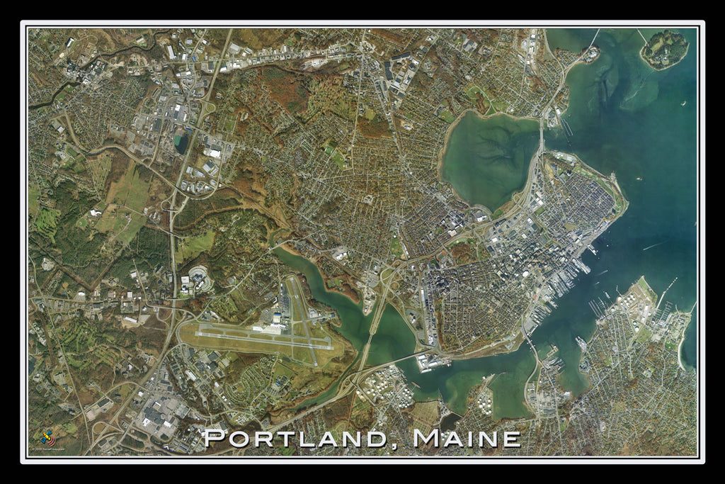 Portland maine satellite poster map terraprints portland maine satellite poster map terraprints gumiabroncs Images