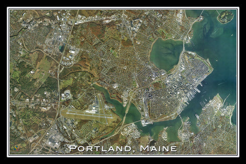 Portland Maine Satellite Poster Map - TerraPrints.com