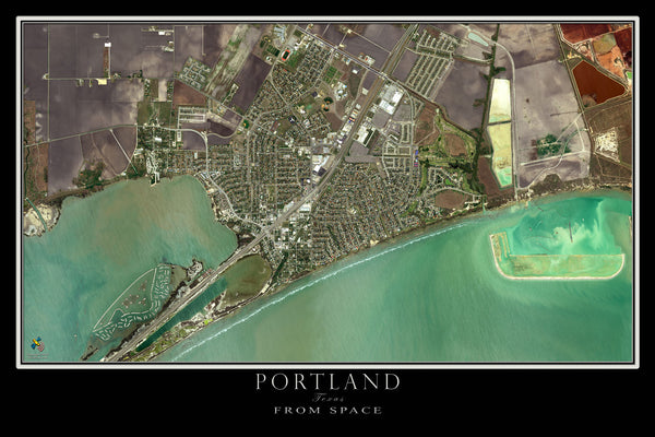 Portland Texas From Space Satellite Poster Map by TerraPrints.com. Available in multiple sizes with free shipping in the USA.
