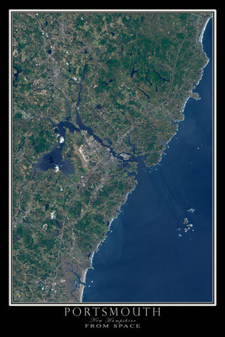 Portsmouth New Hampshire From Space Satellite Poster Map - TerraPrints.com