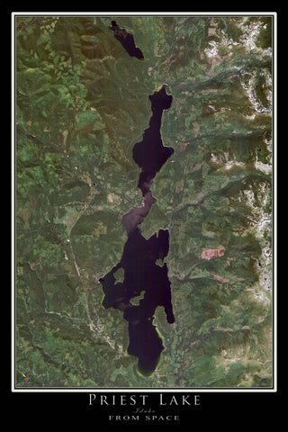 Priest Lake Idaho From Space Satellite Poster Map - TerraPrints.com