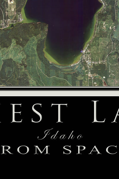 Priest Lake Idaho From Space Satellite Poster Map
