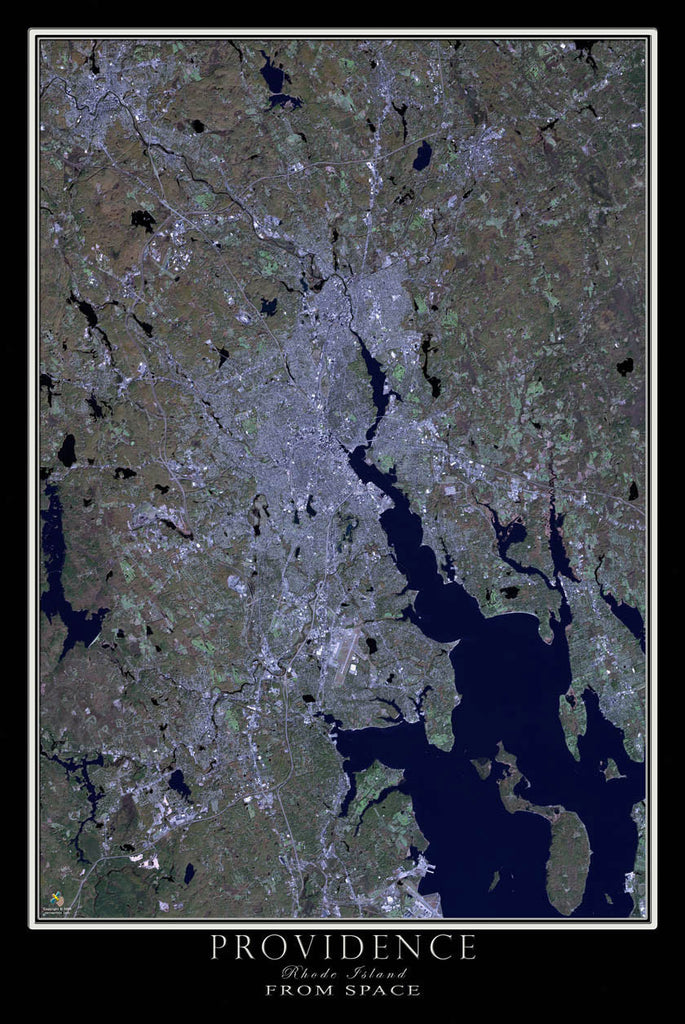 Providence Rhode Island From Space Satellite Poster Map - TerraPrints.com
