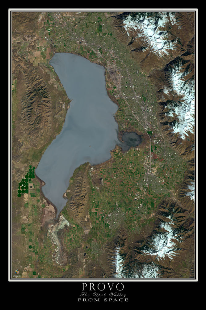Provo And The Utah Valley From Space Satellite Poster Map - TerraPrints.com