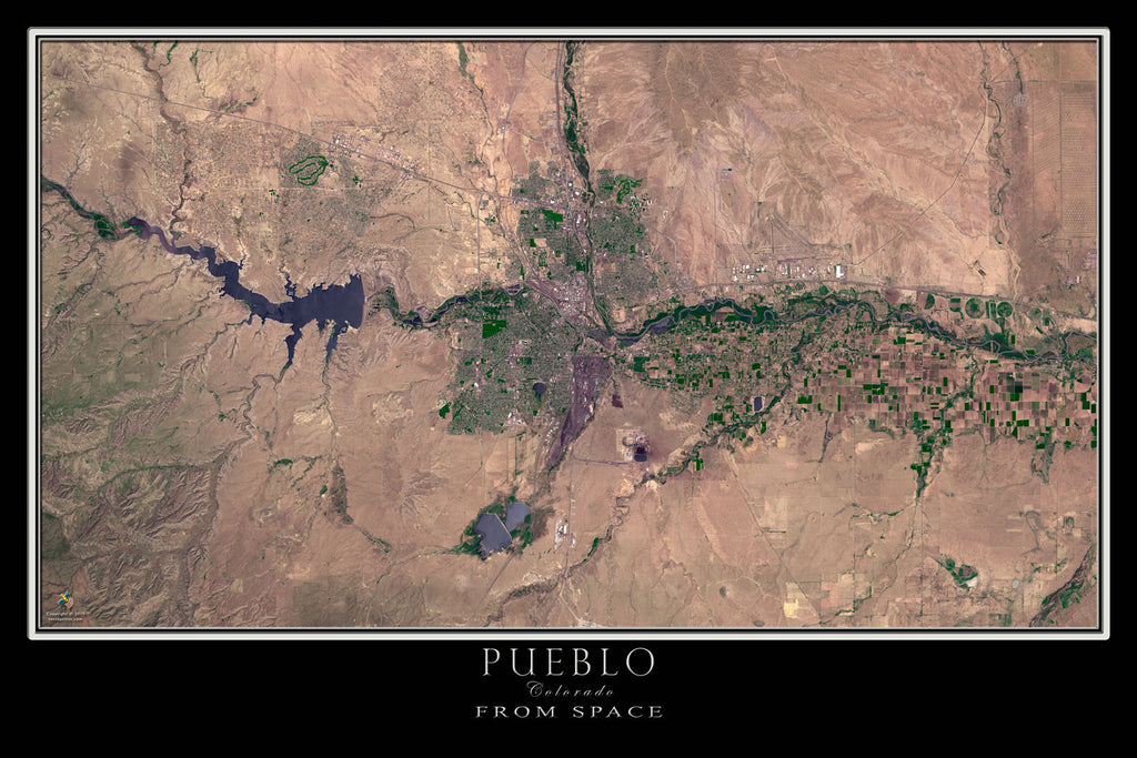 Pueblo Colorado From Space Satellite Poster Map - TerraPrints.com