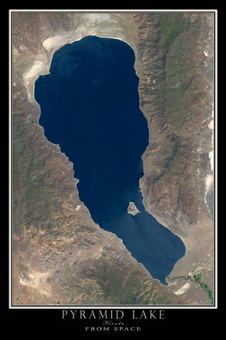 Pyramid Lake Nevada From Space Satellite Poster Map - TerraPrints.com