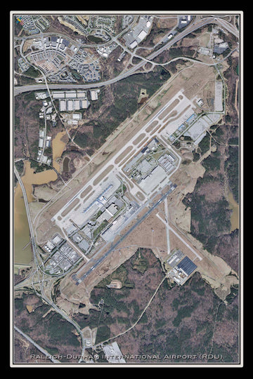 The Raleigh-Durham Intl Airport North Carolina Satellite Poster Map