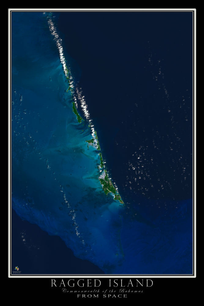 Ragged Island Bahamas From Space Satellite Poster Map by TerraPrints.com. Available in multiple sizes with free shipping in the USA.