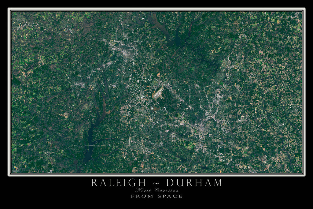 Raleigh Durham North Carolina From Space Satellite Poster Map - TerraPrints.com