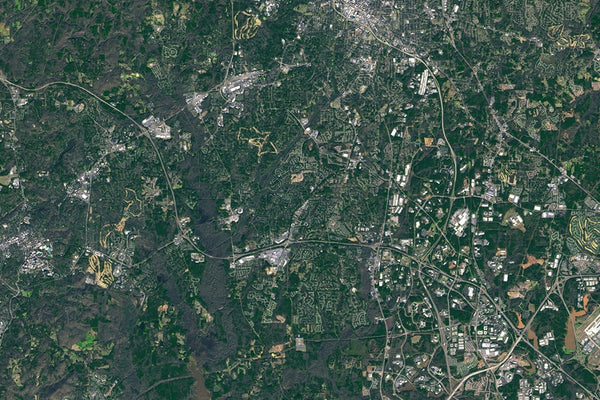 Raleigh Durham North Carolina From Space Satellite Poster Map