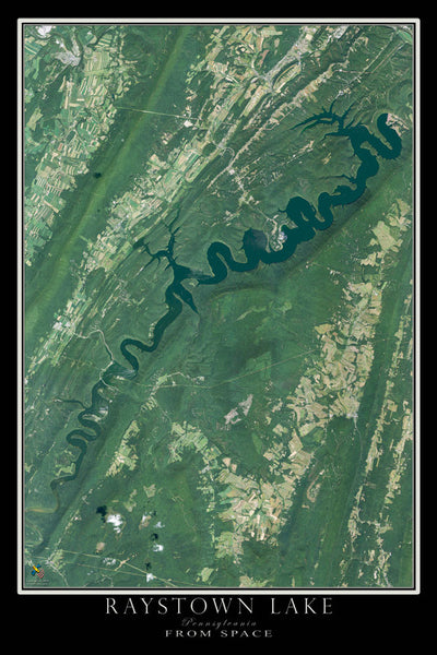 Raystown Lake Pennsylvania From Space Satellite Poster Map by TerraPrints.com. Available in multiple sizes with free shipping in the USA.