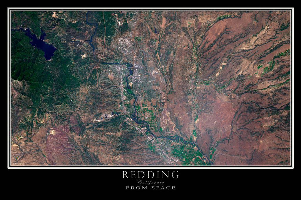 Redding California From Space Satellite Poster Map - TerraPrints.com