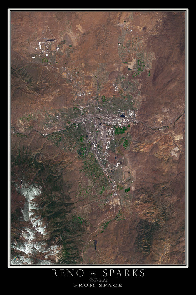 Reno - Sparks Nevada From Space Satellite Poster Map - TerraPrints.com
