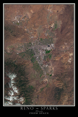 Reno - Sparks Nevada Satellite Poster Map - TerraPrints.com