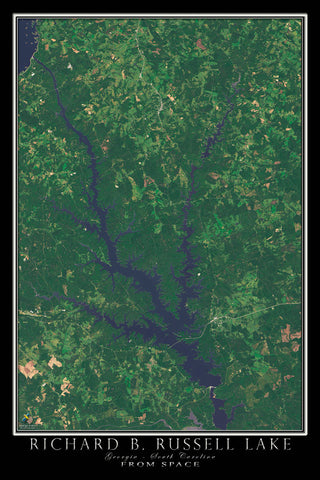 Richard Russell Lake Georgia - South Carolina Satellite Poster Map - TerraPrints.com