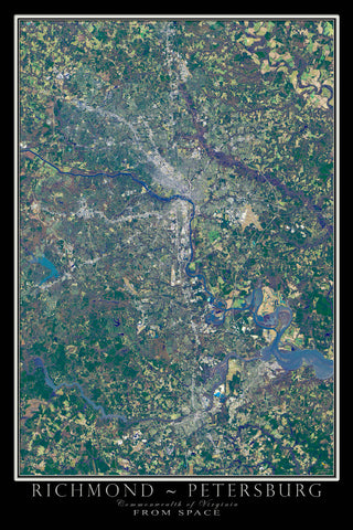 Richmond-Petersburg Virginia From Space Satellite Poster Map - TerraPrints.com