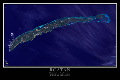 Roatán Bay Islands Honduras From Space Satellite Poster Map - TerraPrints.com
