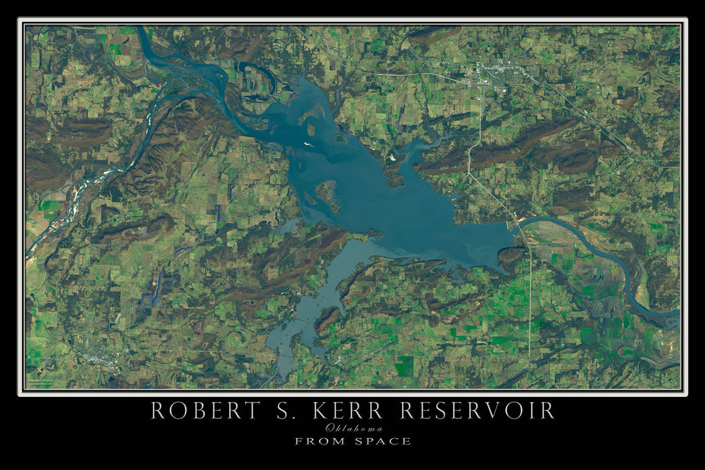 Robert S. Kerr Lake Oklahoma From Space Satellite Poster Map by TerraPrints.com. Available in multiple sizes with free shipping in the USA.