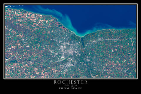 Rochester New York From Space Satellite Poster Map - TerraPrints.com