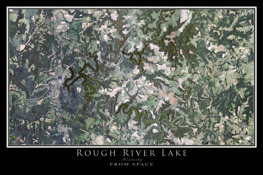 The Rough River Lake Kentucky Satellite Poster Map