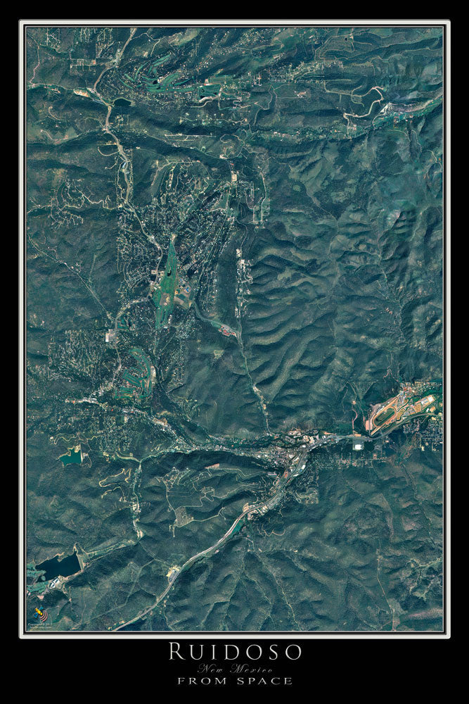 Ruidoso New Mexico From Space Satellite Poster Map - TerraPrints.com