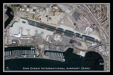 The San Diego Intl Airport California Satellite Poster Map