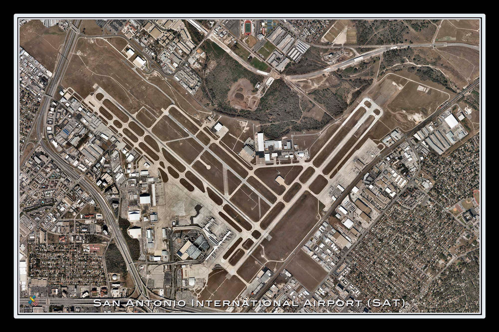 San Antonio Intl Airport Texas Satellite Poster Map