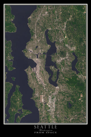 Seattle Washington From Space Satellite Poster Map by TerraPrints.com. Available in multiple sizes with free shipping in the USA.