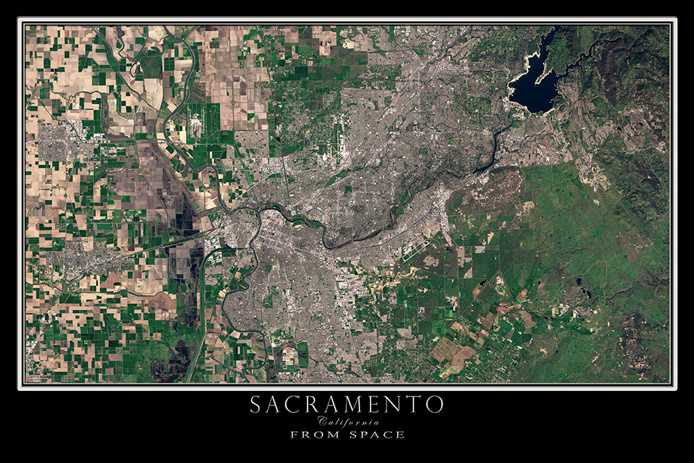 Sacramento California Satellite Poster Map