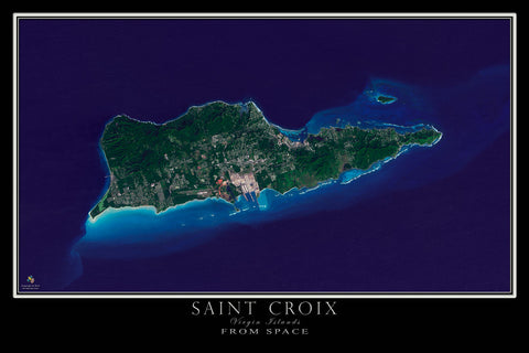 Saint Croix U.S. Virgin Islands From Space Satellite Poster Map - TerraPrints.com