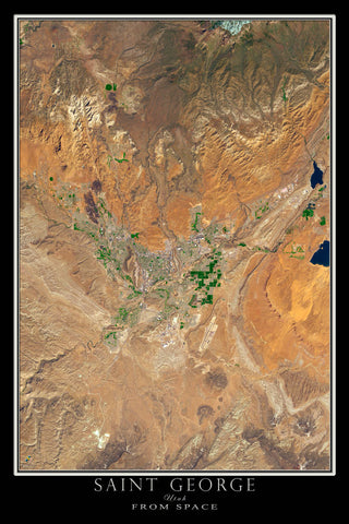 Saint George Utah From Space Satellite Poster Map by TerraPrints.com. Available in multiple sizes with free shipping in the USA.