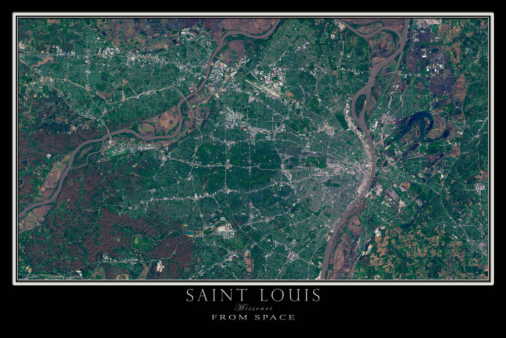 Saint Louis Missouri From Space Satellite Poster Map by TerraPrints.com. Available in multiple sizes with free shipping in the USA.