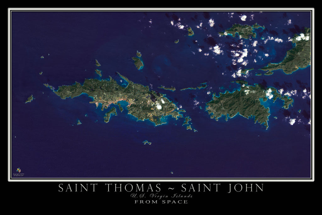 saint thomas and saint john us virgin islands satellite poster map terraprintscom