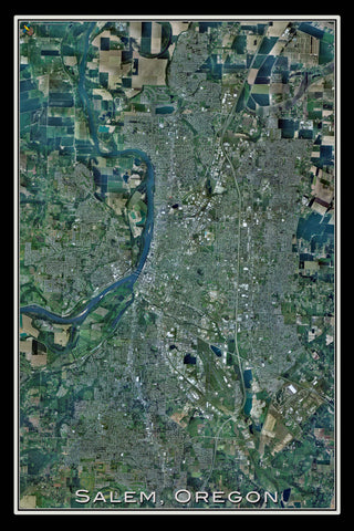 Salem Oregon From Space Satellite Poster Map by TerraPrints.com. Available in multiple sizes with free shipping in the USA.