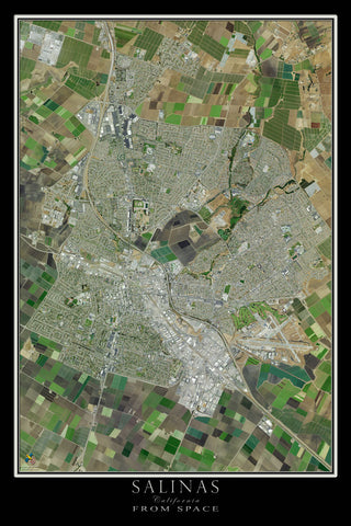 Salinas California From Space Satellite Poster Map
