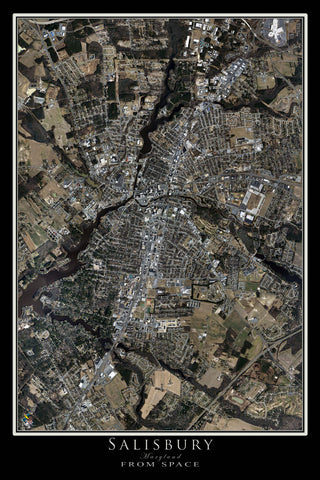 Salisbury Maryland Satellite Poster Map - TerraPrints.com