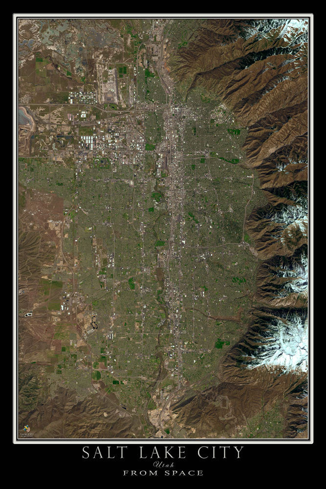 Salt Lake City Utah From Space Satellite Poster Map - TerraPrints.com
