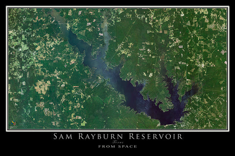 The Sam Rayburn Lake Texas Satellite Poster Map