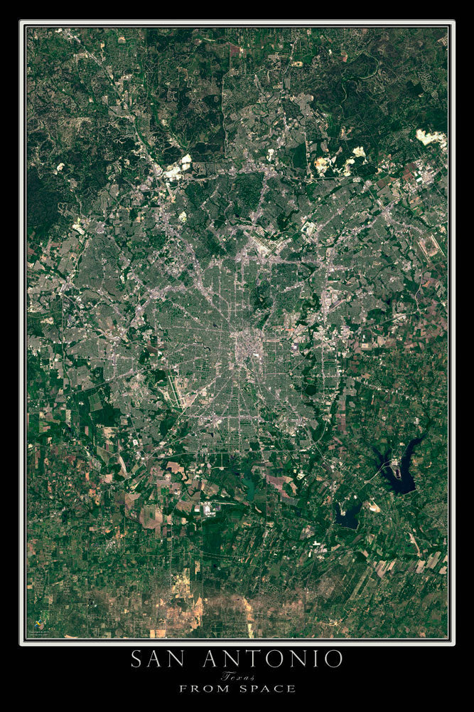 San Antonio Texas From Space Satellite Poster Map - TerraPrints.com