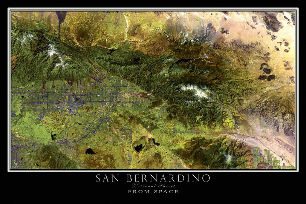 San Bernardino National Forest California From Space Satellite Poster Map - TerraPrints.com