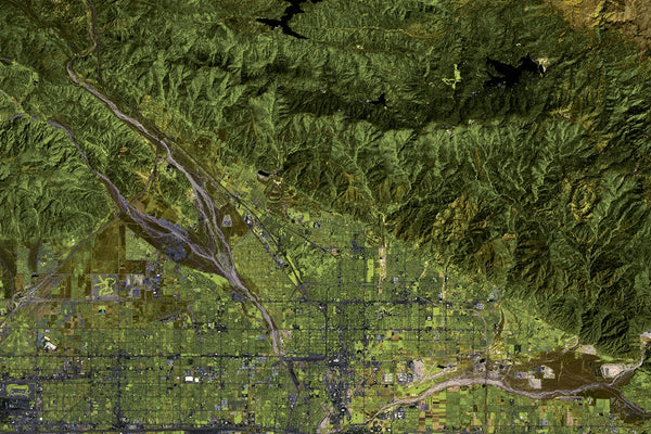 San Bernardino National Forest California From Space Satellite Poster Map