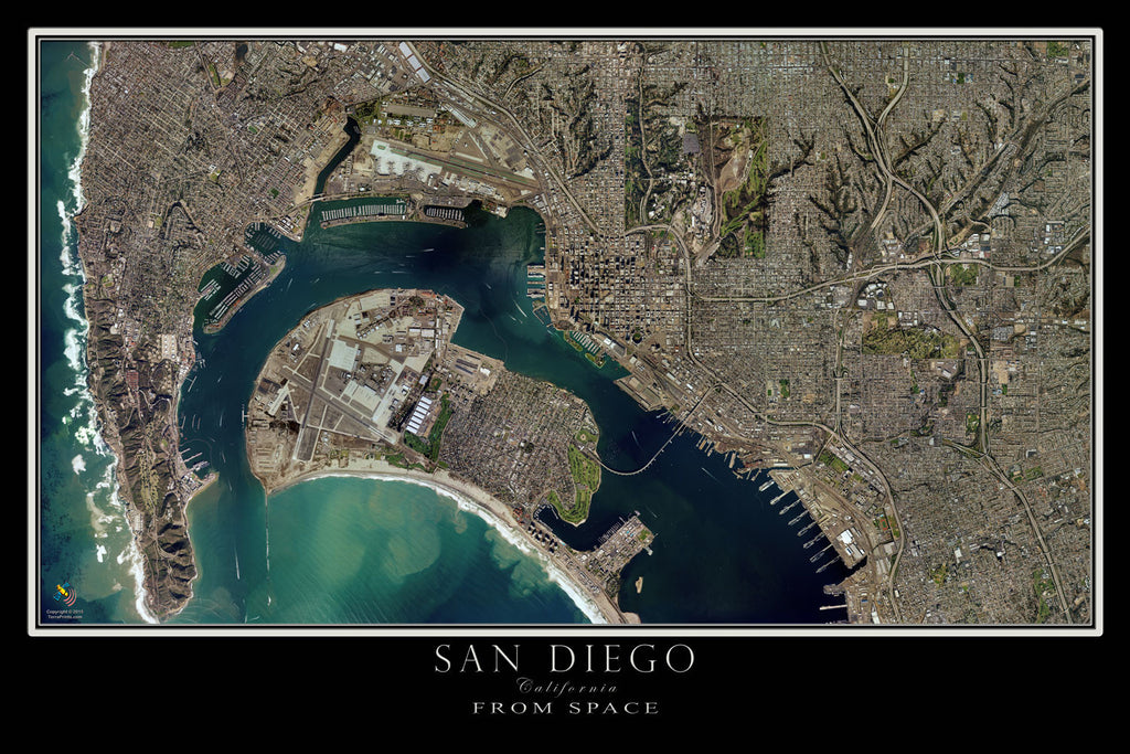 San Diego & Coronado California From Space Satellite Poster Map by TerraPrints.com. Available in multiple sizes with free shipping in the USA.