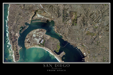 San Diego & Coronado California Satellite Poster Map by TerraPrints.com. Available in multiple sizes with free shipping in the USA.