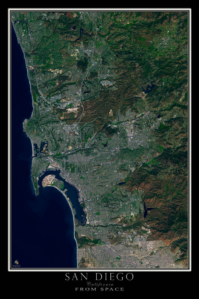 San Diego California From Space Satellite Poster Map by TerraPrints.com. Available in multiple sizes with free shipping in the USA.