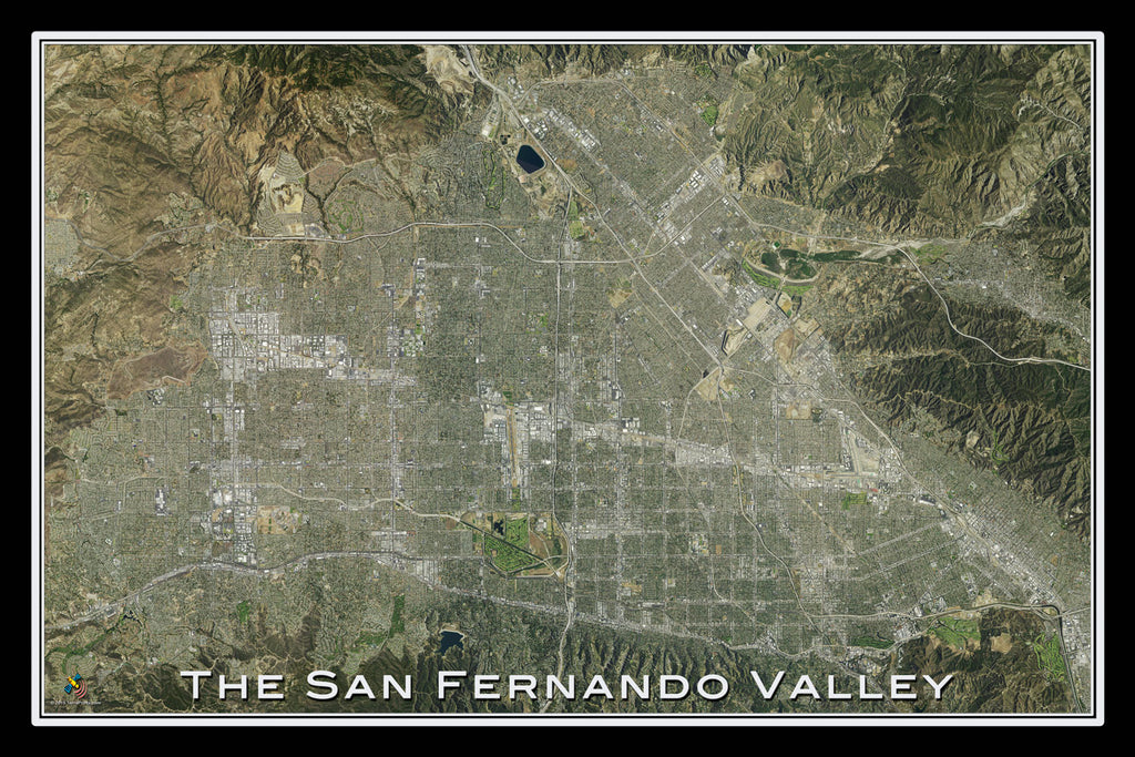San Fernando Valley California From Space Satellite Poster Map by TerraPrints.com. Available in multiple sizes with free shipping in the USA. - 1